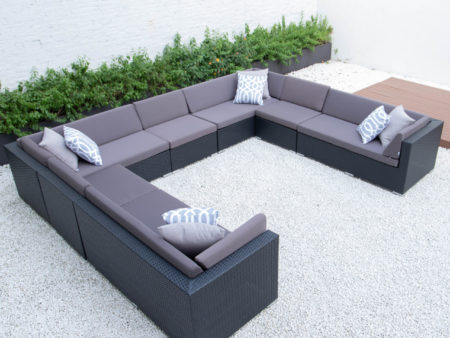 Giant u shaped sectional in dark grey cushions
