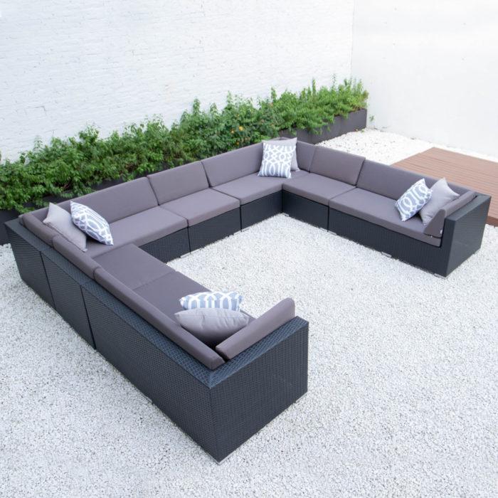 Giant u shaped sectional in dark grey cushions
