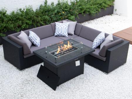 Symmetrical L with wicker fire table in dark grey cushions
