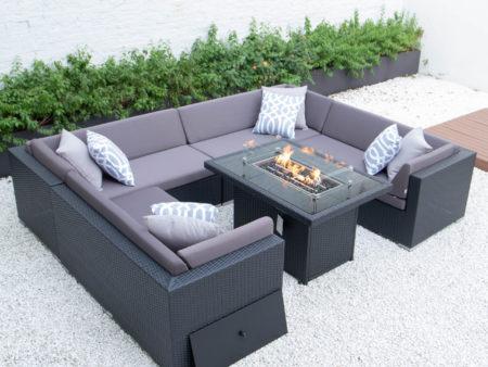 U shaped with wicker fire table in dark grey cushions