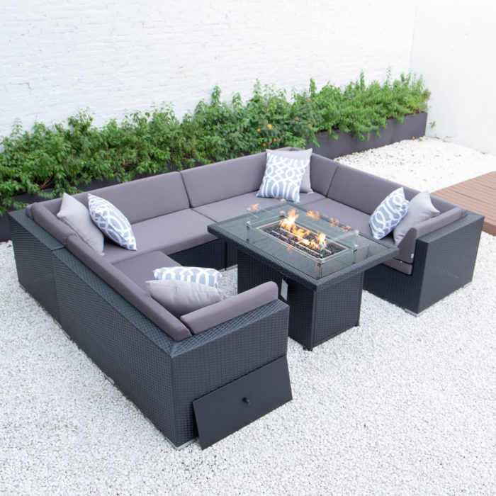 U shaped with wicker fire table in dark grey cushions